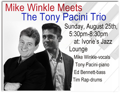 Mike Winkle Meest The Tony Pacini Trio at Ivorie's Jazz Lounge, Sunday, August 25th, 2013. Visit the schedule page for more info.